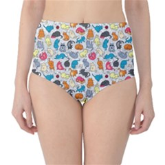 Funny Cute Colorful Cats Pattern Classic High Waist Bikini Bottoms