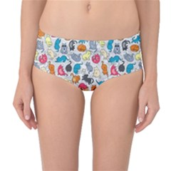 Funny Cute Colorful Cats Pattern Mid Waist Bikini Bottoms