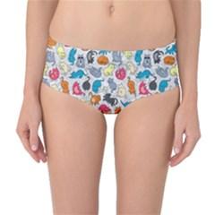 Funny Cute Colorful Cats Pattern Mid Waist Bikini Bottoms by EDDArt