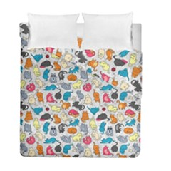 Funny Cute Colorful Cats Pattern Duvet Cover Double Side (full/ Double Size)