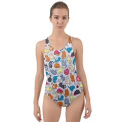 Funny Cute Colorful Cats Pattern Cut Out Back One Piece Swimsuit