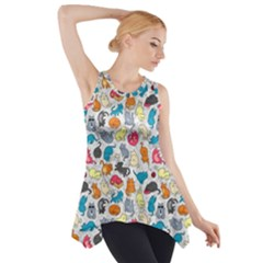 Funny Cute Colorful Cats Pattern Side Drop Tank Tunic