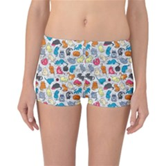 Funny Cute Colorful Cats Pattern Reversible Boyleg Bikini Bottoms
