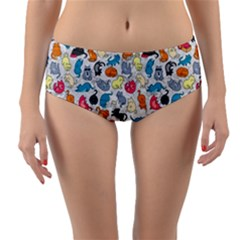 Funny Cute Colorful Cats Pattern Reversible Mid Waist Bikini Bottoms