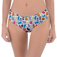 Funny Cute Colorful Cats Pattern Reversible Classic Bikini Bottoms
