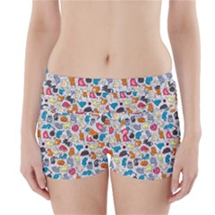 Funny Cute Colorful Cats Pattern Boyleg Bikini Wrap Bottoms