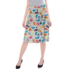 Funny Cute Colorful Cats Pattern Midi Beach Skirt