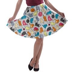 Funny Cute Colorful Cats Pattern A Line Skater Skirt