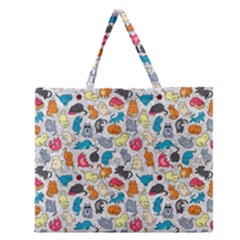 Funny Cute Colorful Cats Pattern Zipper Large Tote Bag