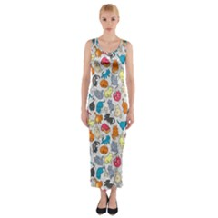 Funny Cute Colorful Cats Pattern Fitted Maxi Dress