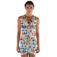 Funny Cute Colorful Cats Pattern Wrap Front Bodycon Dress