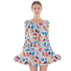 Funny Cute Colorful Cats Pattern Long Sleeve Velvet Skater Dress