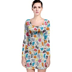 Funny Cute Colorful Cats Pattern Long Sleeve Velvet Bodycon Dress