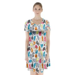Funny Cute Colorful Cats Pattern Short Sleeve V Neck Flare Dress