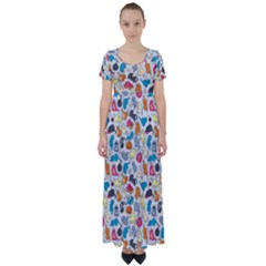 Funny Cute Colorful Cats Pattern High Waist Short Sleeve Maxi Dress