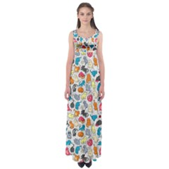 Funny Cute Colorful Cats Pattern Empire Waist Maxi Dress