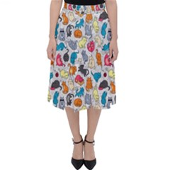 Funny Cute Colorful Cats Pattern Folding Skater Skirt