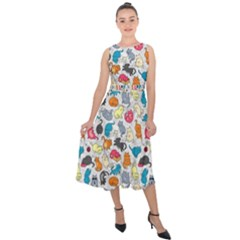Funny Cute Colorful Cats Pattern Midi Tie Back Chiffon Dress
