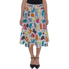 Funny Cute Colorful Cats Pattern Perfect Length Midi Skirt