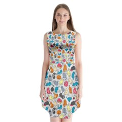 Funny Cute Colorful Cats Pattern Sleeveless Chiffon Dress