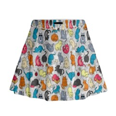 Funny Cute Colorful Cats Pattern Mini Flare Skirt