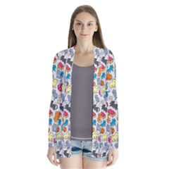 Funny Cute Colorful Cats Pattern Drape Collar Cardigan