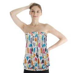 Funny Cute Colorful Cats Pattern Strapless Top