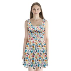 Funny Cute Colorful Cats Pattern Split Back Mini Dress  by EDDArt