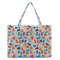 Funny Cute Colorful Cats Pattern Zipper Medium Tote Bag
