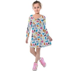 Funny Cute Colorful Cats Pattern Kids  Long Sleeve Velvet Dress