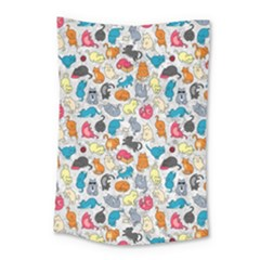 Funny Cute Colorful Cats Pattern Small Tapestry by EDDArt