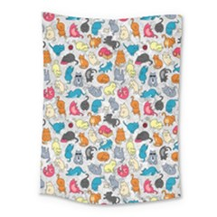 Funny Cute Colorful Cats Pattern Medium Tapestry