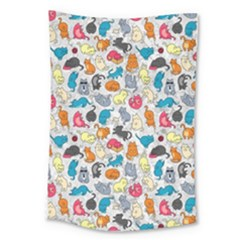 Funny Cute Colorful Cats Pattern Large Tapestry
