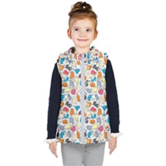 Funny Cute Colorful Cats Pattern Kid s Hooded Puffer Vest by EDDArt
