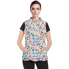 Funny Cute Colorful Cats Pattern Women s Puffer Vest by EDDArt