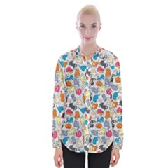 Funny Cute Colorful Cats Pattern Womens Long Sleeve Shirt