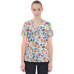 Funny Cute Colorful Cats Pattern Scrub Top
