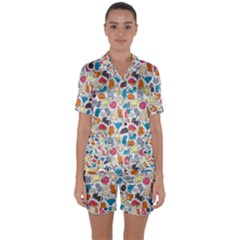 Funny Cute Colorful Cats Pattern Satin Short Sleeve Pyjamas Set