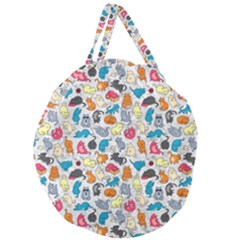 Funny Cute Colorful Cats Pattern Giant Round Zipper Tote