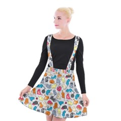 Funny Cute Colorful Cats Pattern Suspender Skater Skirt