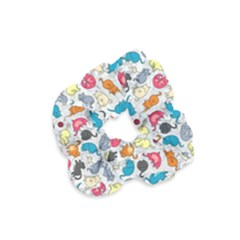 Funny Cute Colorful Cats Pattern Velvet Scrunchie