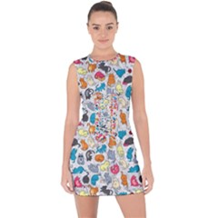 Funny Cute Colorful Cats Pattern Lace Up Front Bodycon Dress