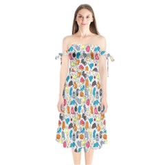Funny Cute Colorful Cats Pattern Shoulder Tie Bardot Midi Dress