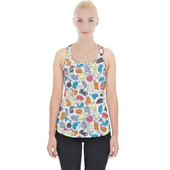 Funny Cute Colorful Cats Pattern Piece Up Tank Top