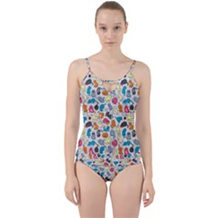 Funny Cute Colorful Cats Pattern Cut Out Top Tankini Set