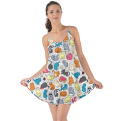 Funny Cute Colorful Cats Pattern Love The Sun Cover Up