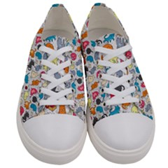Funny Cute Colorful Cats Pattern Women s Low Top Canvas Sneakers