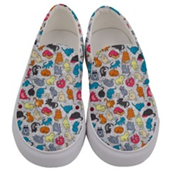Funny Cute Colorful Cats Pattern Men s Canvas Slip Ons