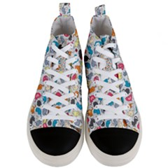 Funny Cute Colorful Cats Pattern Men s Mid Top Canvas Sneakers