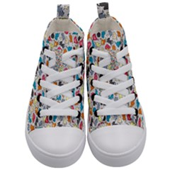 Funny Cute Colorful Cats Pattern Kid s Mid Top Canvas Sneakers